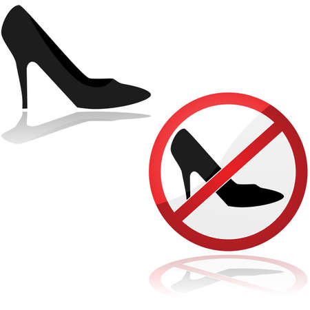 Illustration showing an icon for a high heel shoe and a sign prohibiting that kind of show 免版税图像 - 143371841
