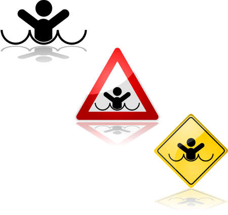 Icon set showing a sign alerting for the risk of drowning 矢量图像