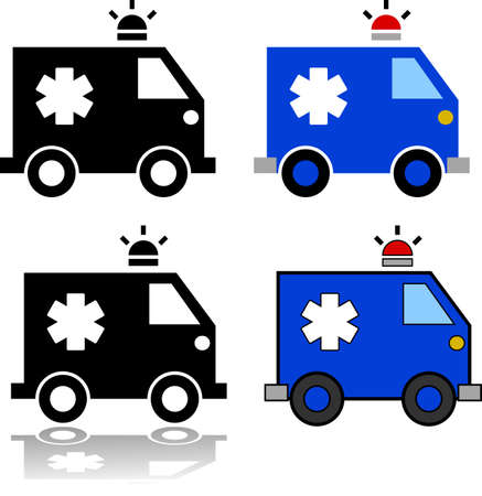 Icon set showing an illustration of an ambulance represented in different styles