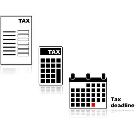 Icon set showing different tax related items, such as a tax form, a calculator with tax on its display and a calendar indicating the deadline for tax submissions