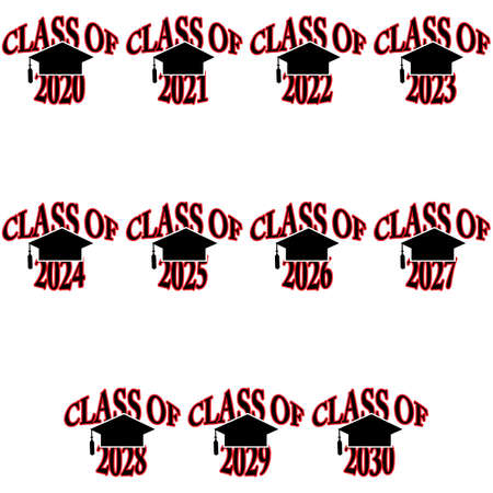 Icon set showing a graduation cap paired with different years showing the graduation year Ilustração