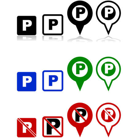 Parking signs and icons for mobile apps and maps