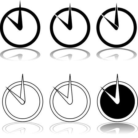 Icon set showing a clock being displayed in different styles Ilustração