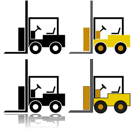 Icon set showing an illustration of a forklift represented in different styles
