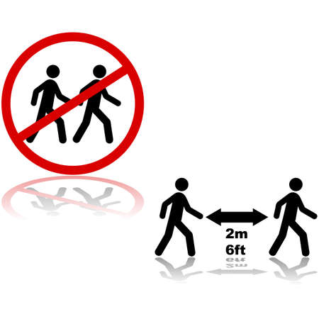 Illustration showing sign indicating the need for people to maintain social distancing, and that standing close together is forbidden