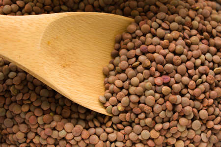 Wooden spoon gathering lentils from a recipient. Vegetable source of iron and proteins Archivio Fotografico