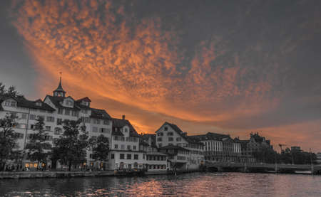 orange sunset: Zrich XIX
