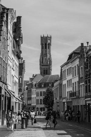 bruges: Bruges Street B&W VIII Editorial