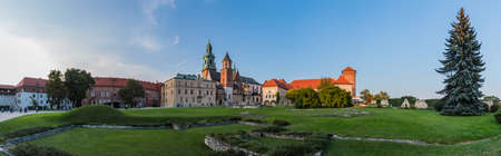 Wawel Hill Panorama in Krakow Stock Photo