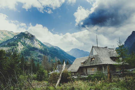 A picture of two huts in the Tatra Mountains.