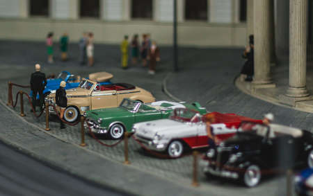 A picture of one of the model scenes exhibited in the Kolejkowo Miniature Museum in Wroclaw. Stock Photo