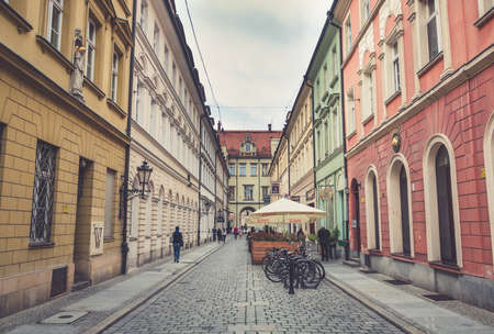 A picture of one of the alleys that cuts through the center of Wroclaws Market Square. Stock Photo