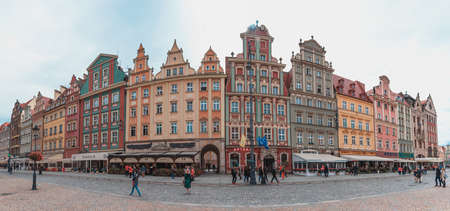 A panorama of one of the sides of the Market Square in Wroclaw. Stock Photo