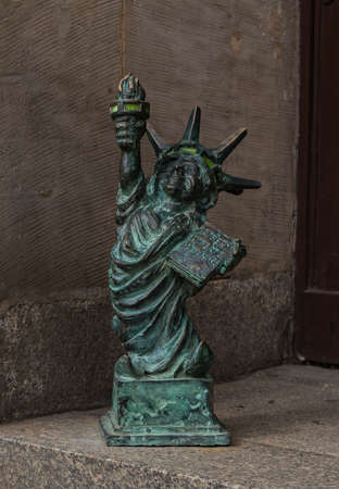 A close-up of one of the many gnomes that pop up over Wroclaw, this one copying the Statue of Liberty.
