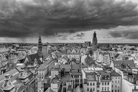 A black and white panoramic view of Wroclaw taken from a vantage point. Stock Photo