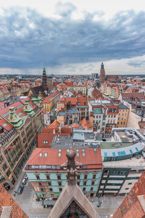 A vertically-panoramic view of Wroclaw taken from a vantage point.