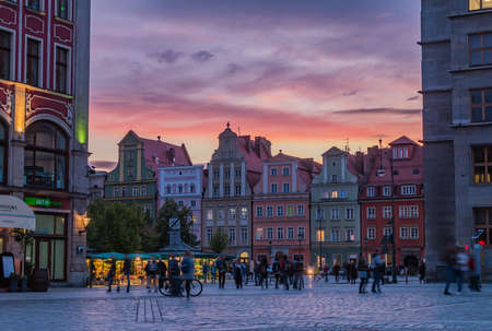 A picture of the sunset over the Market Square and Solny Square in Wroclaw. Stock Photo