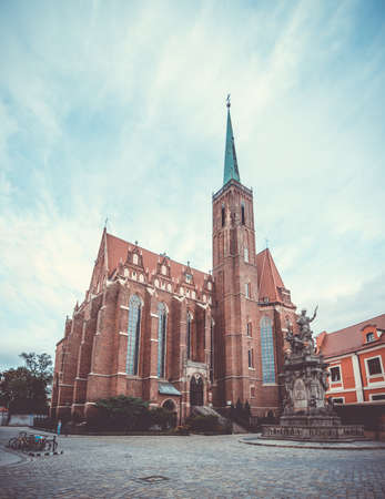 A vertical panorama picture of the Church of the Holy Cross, Wroclaw. Stock Photo