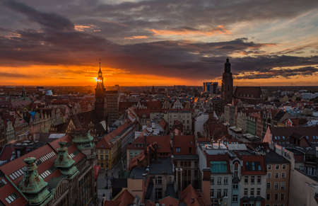 A panoramic view of Wroclaw at sunset. Stock Photo