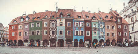 A panoramic picture of the Merchants Houses in the middle of the Market Square (Poznan). Editorial