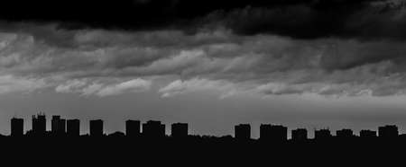 A dramatic black and white picture of Poznans skyline. Stock Photo