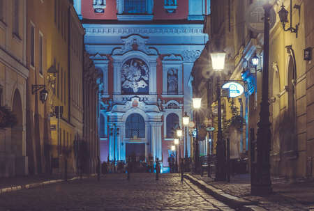 A night shot of a street near the Market Square (Poznan). Editorial