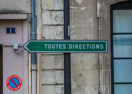 A directions sign post in Cholet. Stock Photo