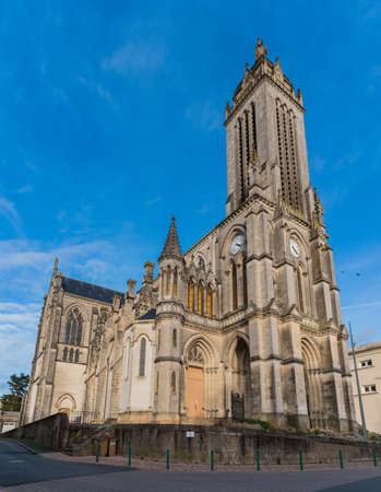 A vertical panorama of the Saint Peter Church in Cholet.