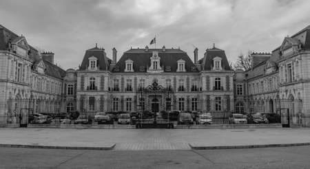 A black and white picture of the Prefecture of Vienne (regional administrative building). Editorial