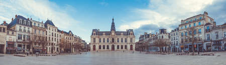 A panorama of the square where Poitiers Hôtel de Ville is located. Editorial