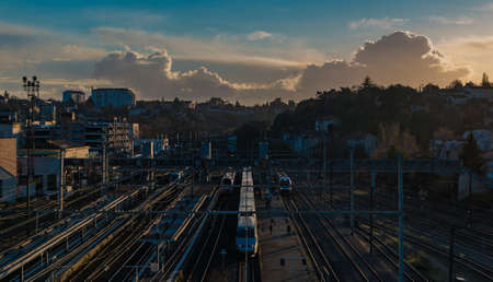 A picture of the sunset over Poitiers train station.