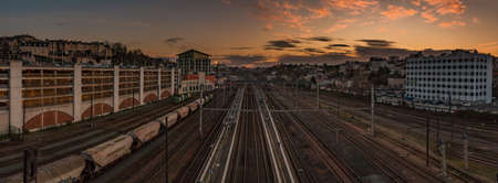 A panorama picture of the sunset over Poitiers train station.