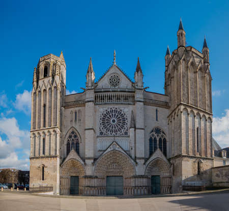 A picture of the front facade of Saint Peter Cathedral (Poitiers). Editorial