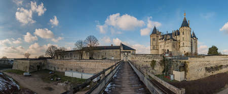 A panorama of the Château de Saumur taken from the wooden bridge adjacent to it.