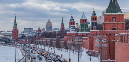 A picture of the Kremlin Towers and the south side of the Kremlin.