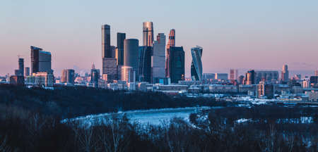 A picture of the Moscow City buildings at sunset.