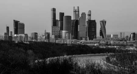 A black and white picture of the Moscow City buildings. Stock Photo