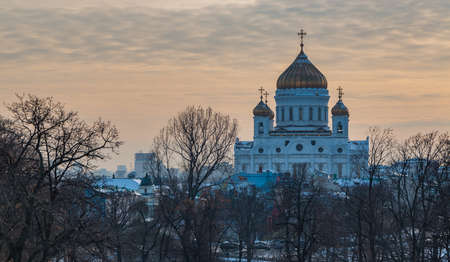 A picture of the Cathedral of Christ the Saviour with the sun starting to set behind.