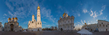 A panorama of the Sobornaya Square, inside the Kremlin.
