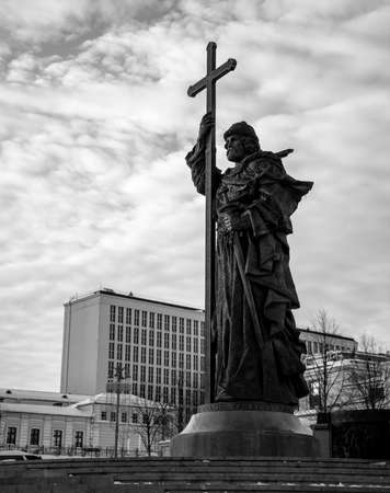 A black and white picture of the Monument to Prince Vladimir. Editorial