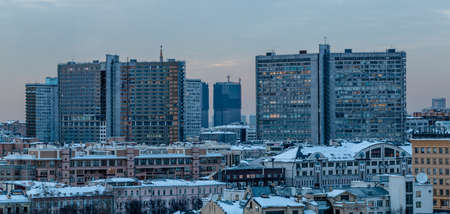 A picture of large apartment buildings in Moscow taken at sunset. Stock Photo