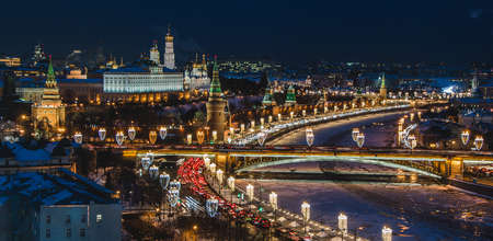 A picture of Moscow at night, focused on the Kremlin area.