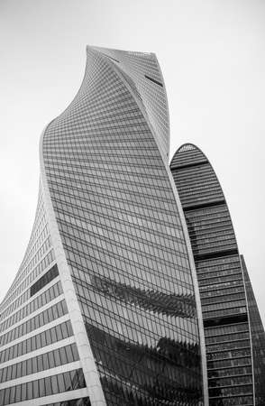 A picture of the Evolution Tower, part of the Moscow City complex.