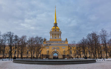 A picture of the central section of the Admiralty Building, in Saint Petersburg. Editorial