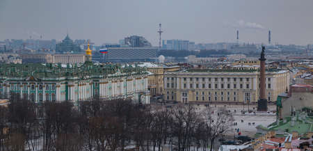 A picture of the Palace Square, centered by the Alexander Column and the Hermitage museum.