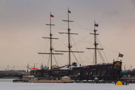 A picture of the Flying Dutchman docked in Saint Petersburg at sunset.