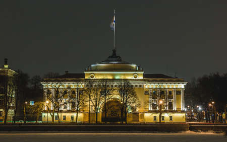 A picture of the Admiralty Building at night taken from the other side of the Neva river. Stock Photo