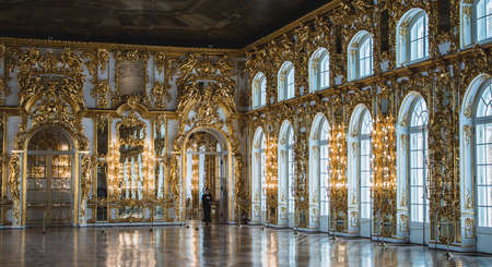A picture of the grand hall of the Catherine Palace, near Saint Petersburg.