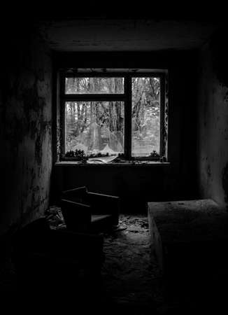 A black and white picture of the hospital in Pripyat.