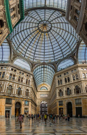 A vertical panorama of the Galleria Umberto I, in Naples.